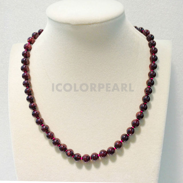 High Quality 8mm Round Natural Dark Red Garnet Necklace With A Pop Round Silver Plated Clasp
