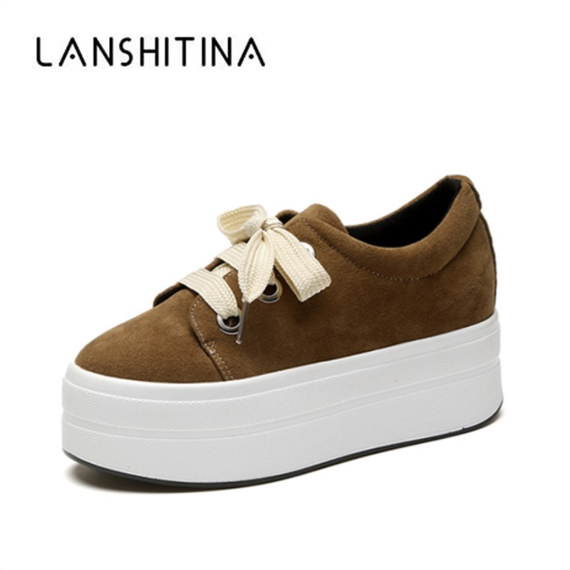 2018 Autumn Wedges Suede Shoes Woman Platform Sneakers Zipper Shoes Hidden Heel Height Increasing Casual Shoes Flats For Women