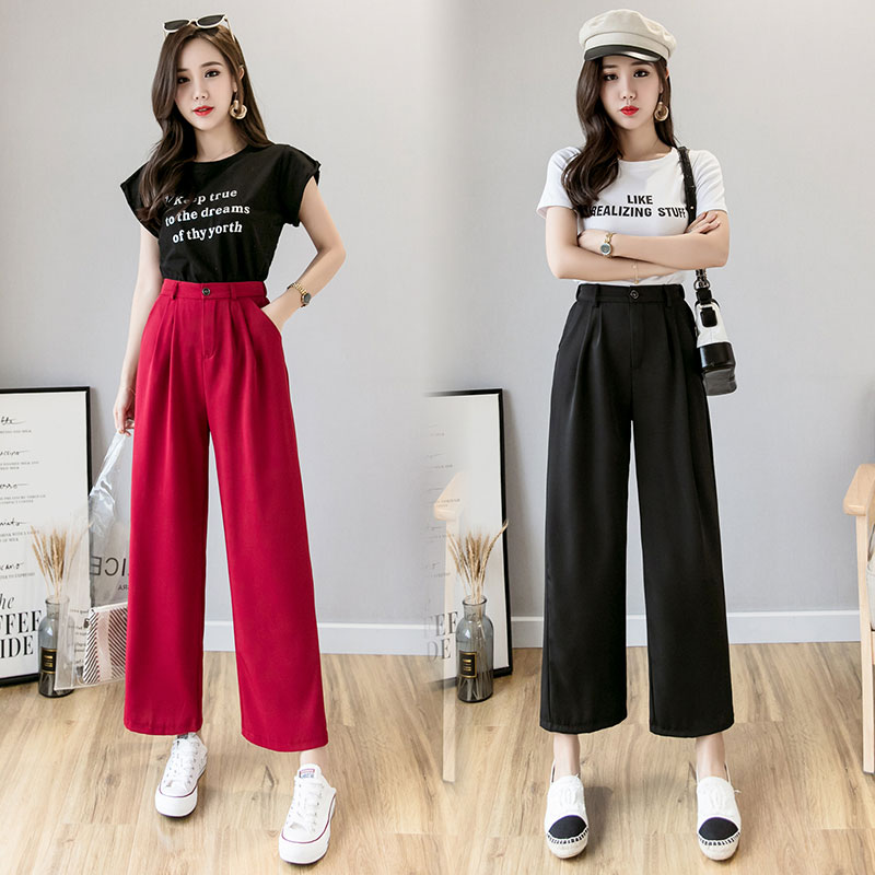 Womem   wide     leg     pants   2019 summer autumn fashion female elegant loose chiffon straight   pant   casual trousers lady pantalon