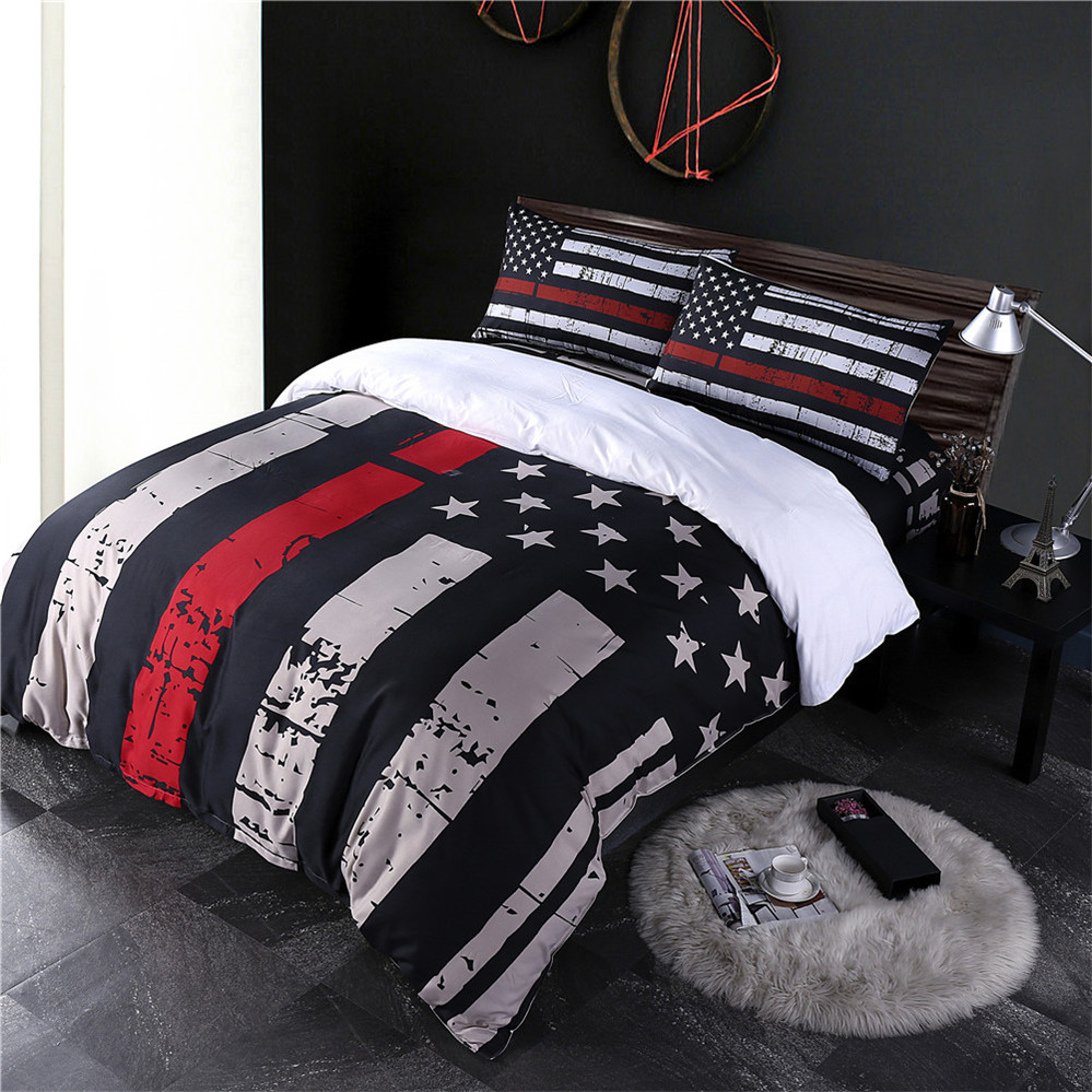 classic american flag bedding set striped star print duvet cover set festival gift bed cover polyester bedclothes pillowcase d20