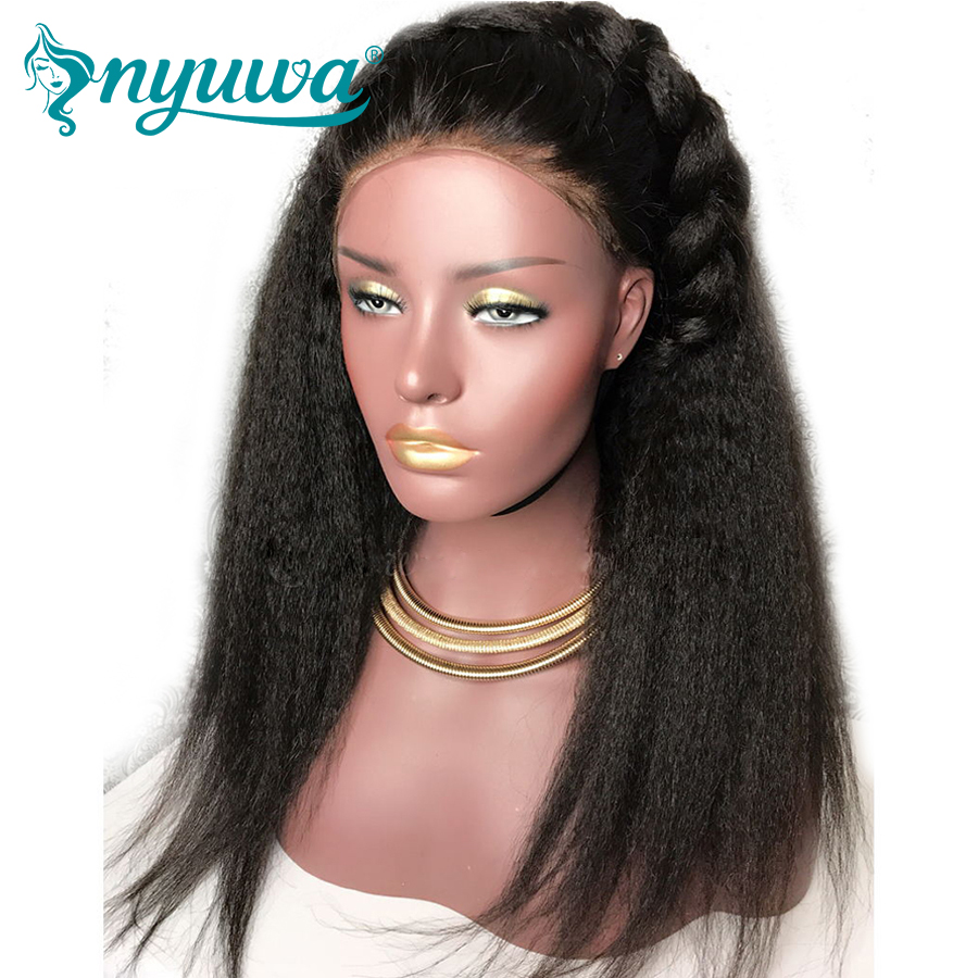 NYUWA Lace Front Human Hair font b Wigs b font Pre Plucked With Bleached Knots Kinky