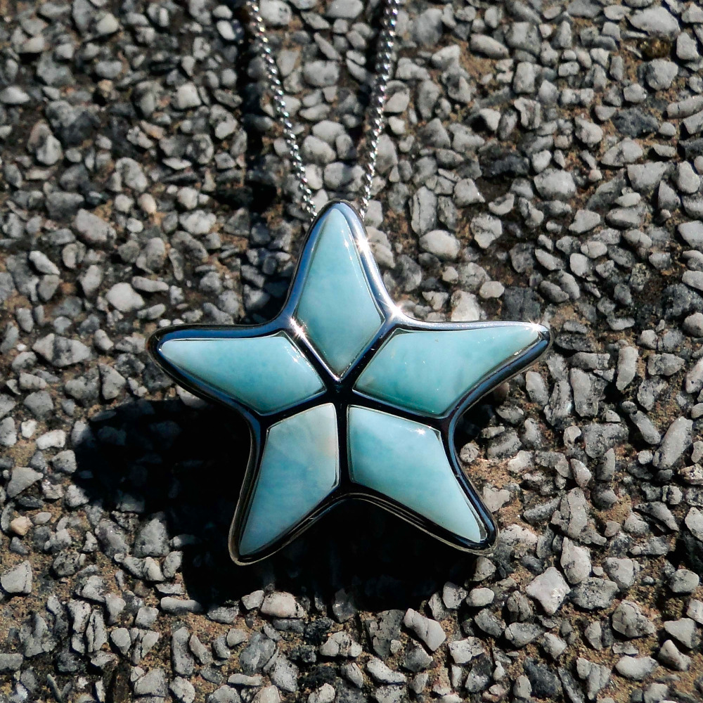 DJ CH Simple Style Exquisite Cute Women 925 Silver Star Pendant Ocean Sea Life Jewelry Blue Starfish Larimar Pendant(No Chain)