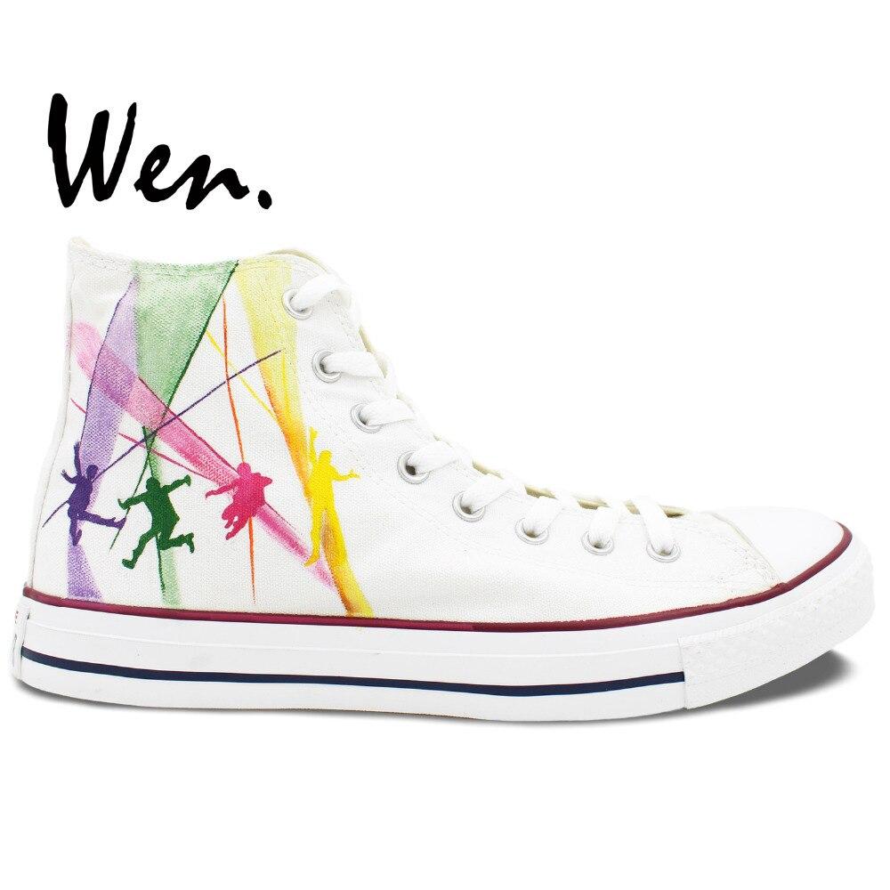 Prix pour Wen Custom Design Blanc Peint À La Main Chaussures de La Beatles Femme Homme Sneakers High Top Toile Sneakers