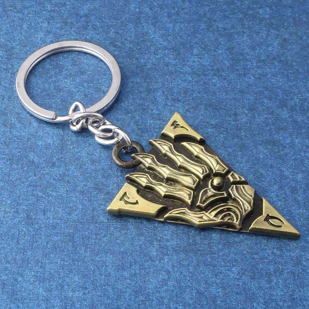 The Elder Scrolls Morrowind Huruf Gantungan Kunci Dinosaurus Vintage Segitiga Liontin Gantungan Kunci Wanita Pria Gantungan Kunci Perhiasan