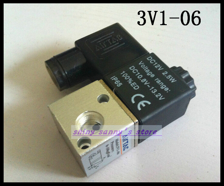 1Pcs 3V1-06 12VDC 3Port 2Pos 1/8 BSP Normally Closed Solenoid Air Valve Coil LED 20pcs free shipping 3v120 06 nc solenoid air valve 3port 2position 1 8 solenoid air valve single nc normal closed double control
