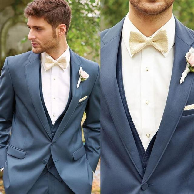Aliexpress.com : Buy Double Breasted Navy Blue Groom Tuxedos Peak ...