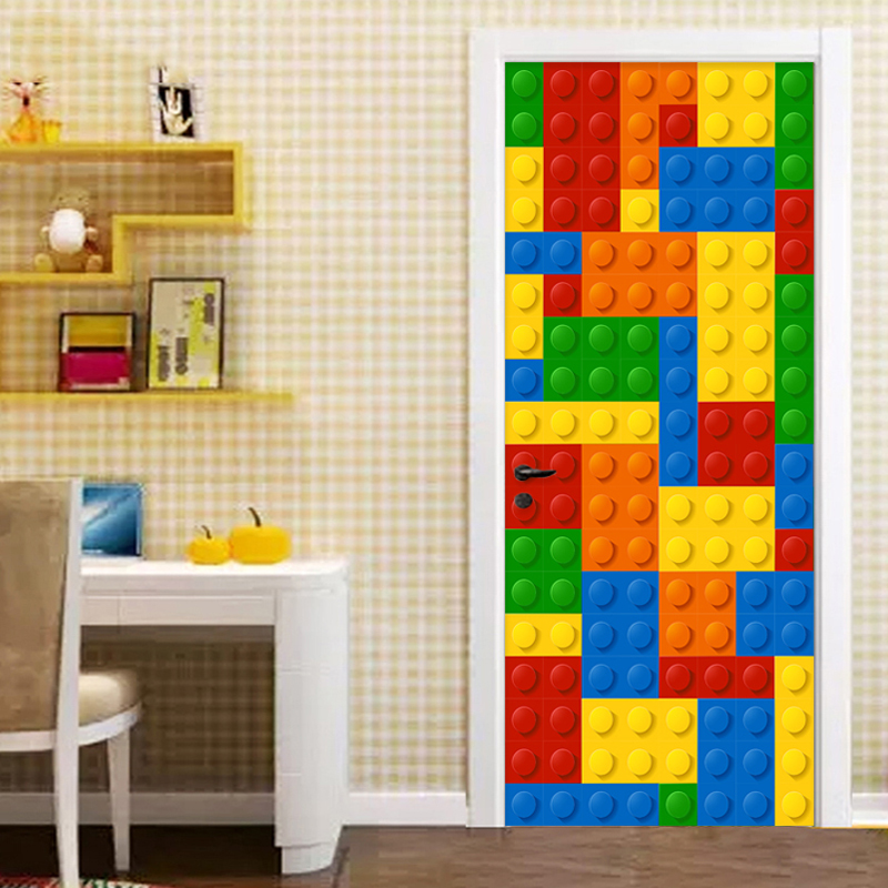 Room 2 Build Bedroom Kids Lego: PVC Self Adhesive Waterproof 3D Stereo Lego Bricks Door