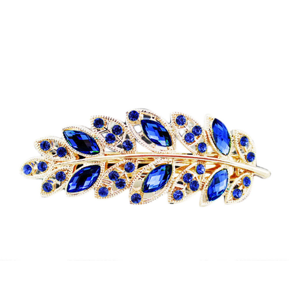 Charming Hair Accessories 1 Piece Women Classical Hair Clip Leaf Crystal Rhinestone Barrette Hairpin