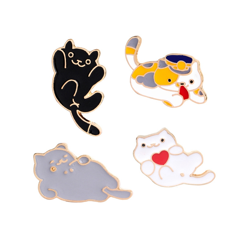 4 Pcs Women's Color Block Lovely Cat Shaped Brooches Set - XS041