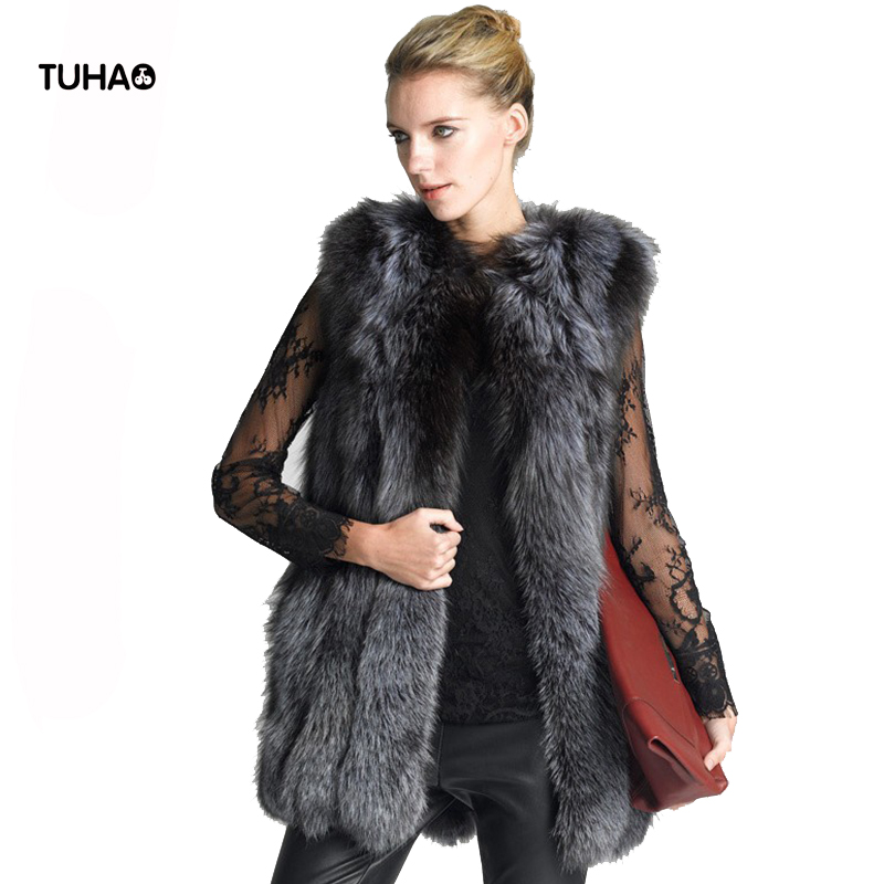 TUHAO Sleeveless Long Faux Fur Vest Plus Size 4XL 5XL 6XL Female Slim High Street Autumn Winter Faux Fur Casual Overcoat LQ217