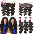 7A Vishine Hair With Frontal Closure With 3 Bundles Peruvian Body Wave Hair Rosa Peruvian Virgin Hair With Lace Frontal