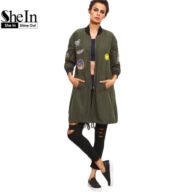 86f50c47ff SheIn Womens Long Casual Jackets For Autumn Army Green PU Leather Patch  Pocket Zipper Stand Collar