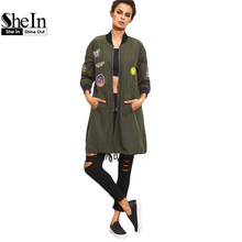 SheIn Womens Long Casual Jackets For Autumn Army Green PU Leather Patch Pocket Zipper Stand Collar Long Sleeve Basic Jacket Coat