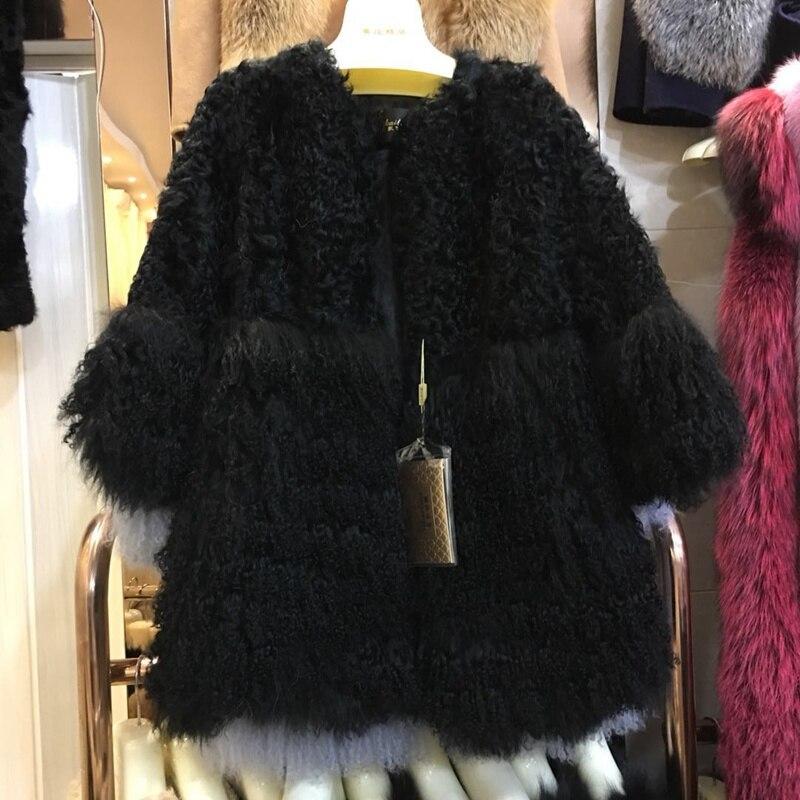 2018 nouveauté femmes véritable mouton fourrure manteau mongolie fourrure manchette hiver outwear mouton fourrure Parka Vintage mode femme fourrure veste-in Réel De Fourrure from Mode Femme et Accessoires    2