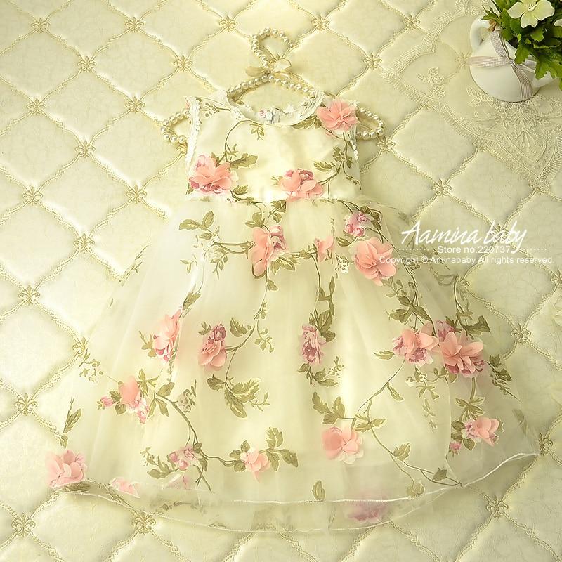 Virág nyomtatványok Szirom baba lány ruhák Nyári Tutu hercegnő gyerekek ruhák lányoknak, gyermek ruházat fél ruha lány ruhák