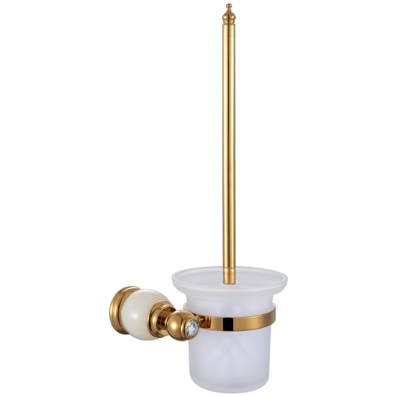 Gold WC Brush Holder Wall Mounted Jade Luxury Antique Frosted Glass Cup Toilet Brush Holder Set Durable Type Bathroom Accessory newly wall mounted crystal style holder white ceramic cup white toilet brush gold finish