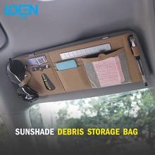 LOEN Car Sun Visor Storage Bag Sunshade Box Multifunctional Organizer with Parking Card Phone Number Plate