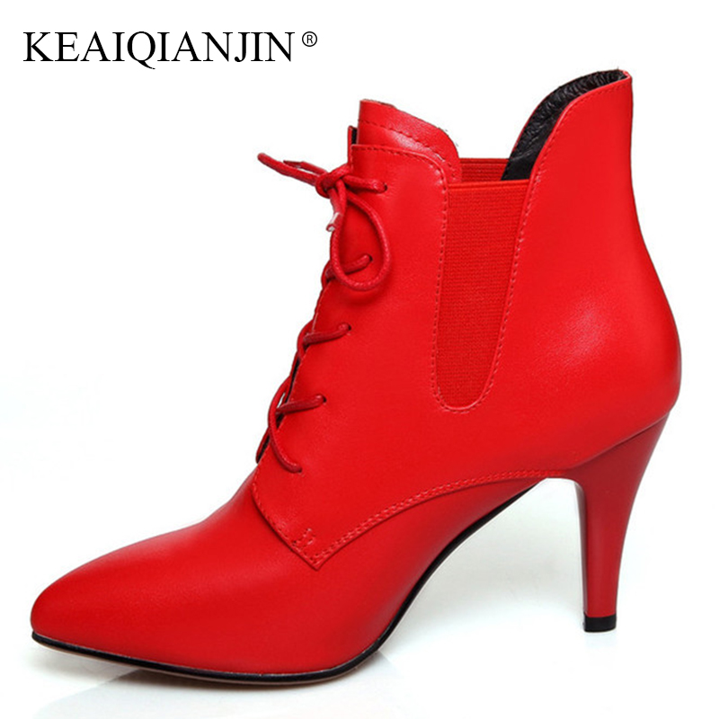 KEAIQIANJIN Woman Pointed Toe Lace Up Ankle Boots Autumn Winter Black Red Plus Size 33 - 43 Genuine Leather Martin Ankle Boots women boots plus size 35 43 genuine leather autumn winter ankle boots black wine red shoes woman brand fashion motorcycle boot