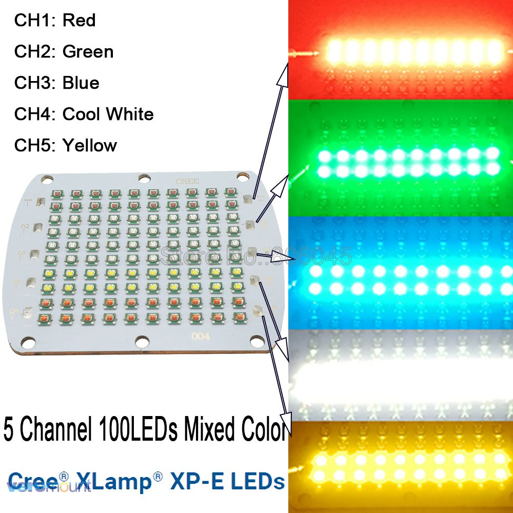 Cree XPE XP-E 100LEDs 5 Channel High Power RGBWY LED Emitter Light Red Green Blue White Yellow Mixed Color DIY LED Light