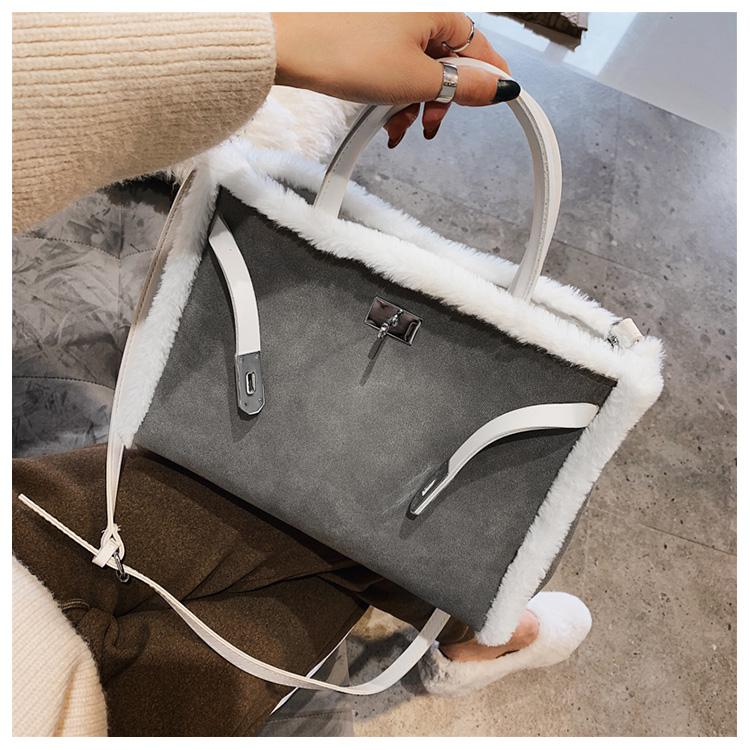 Korean handbag large capacity bucket hand bag designer big tote designer Fur women messengerc winter shopping wool no lock 87