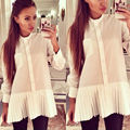 2016 New Fashion Women Loose Chiffon Tops Long Sleeve Shirt Casual Blouse