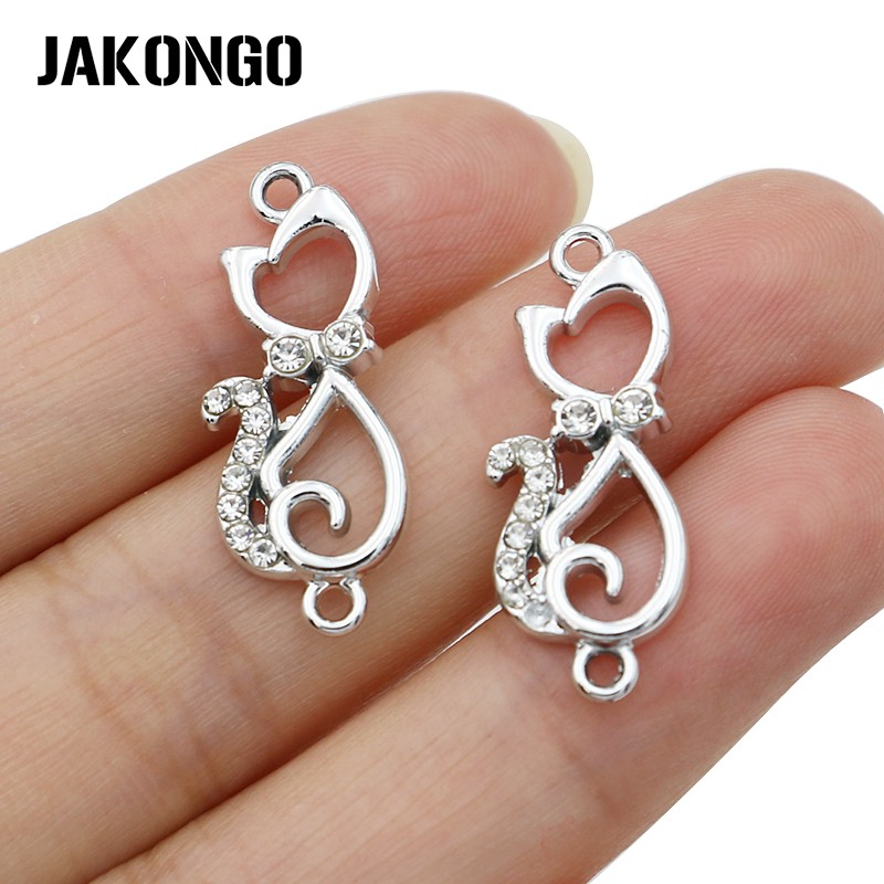 JAKONGO Silver Color Crystal Cat Charm Connector For Jewelry Making Bracelet Accessories Findings DIY 27x12mm 5pcs/lot