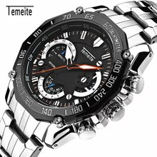 лучшая цена Men Luxury Brand stainless steelWatch Men Mechanical Mens Automatic Army Watches Waterproof Calendar Quartz Watch