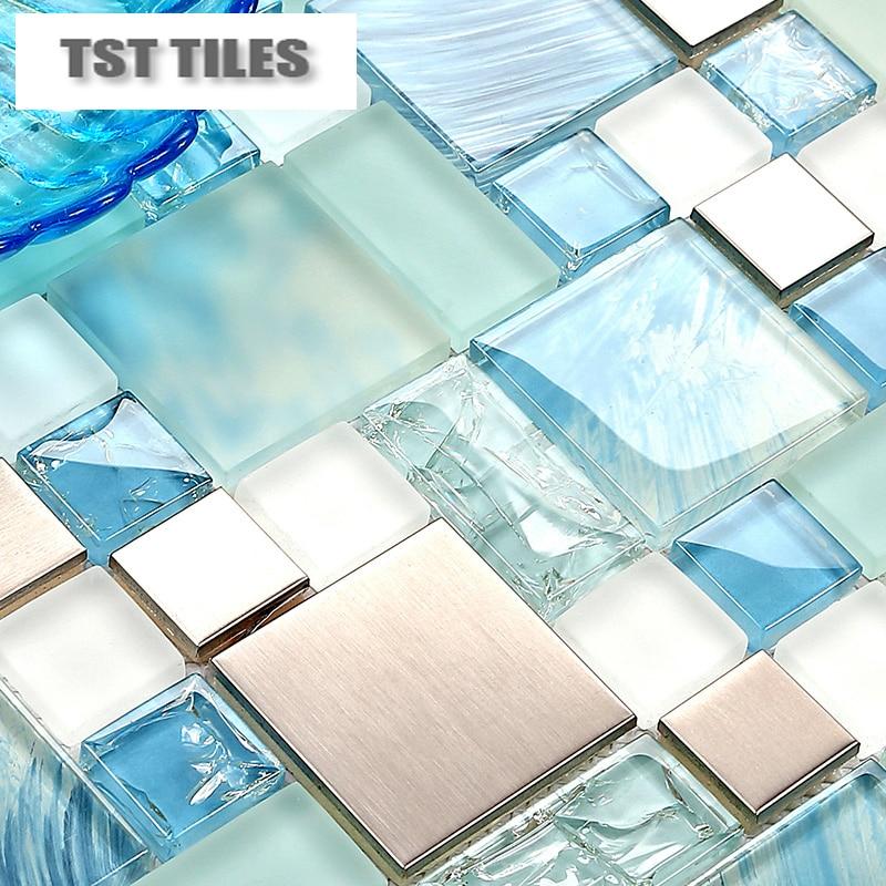 modern sale 11sheets lot blue sea glass kitchen tiles bathroom mirror tile backsplash silver stainless steel fireplace deco mesh