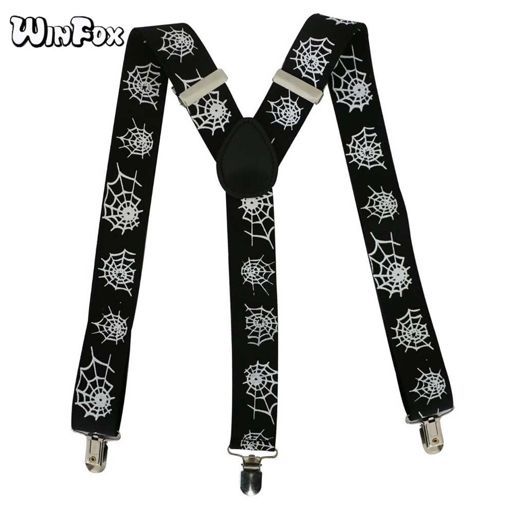 Winfox Black White Male Suspender Adjustable 3.5cm Wide Y-Back Spider Web Suspenders For Mens