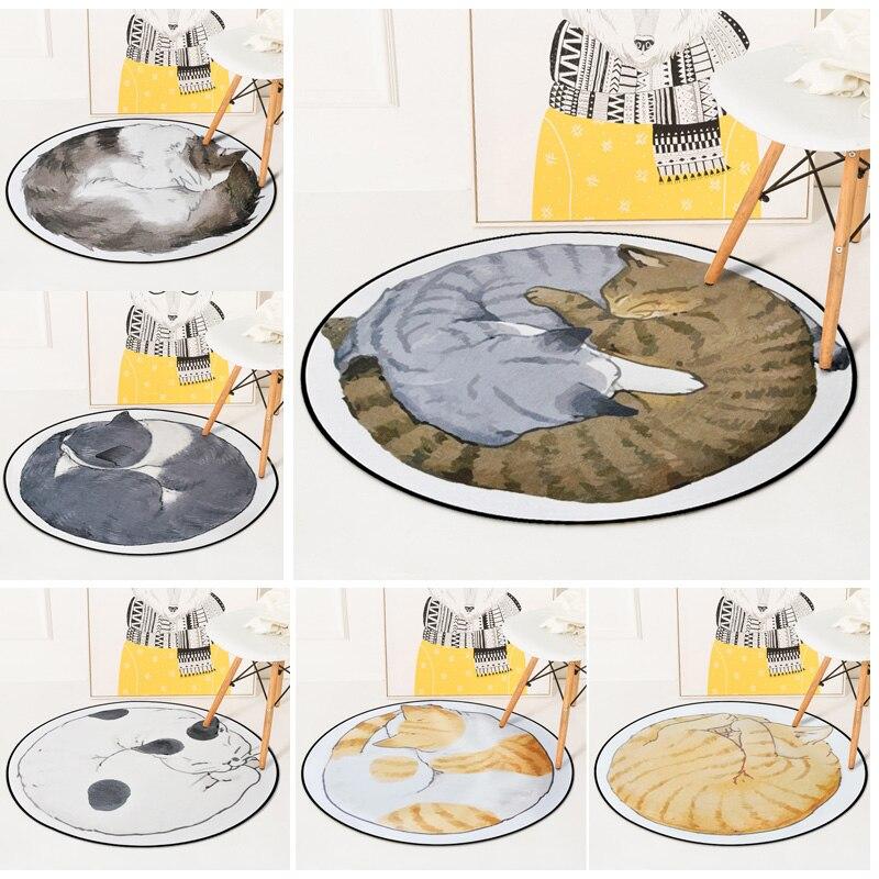 Cartoon Cat Printed Round Carpet Kids Living Room Bedroom Non Slip Floor Crawling Mats Animal Decoration Soft Sleeping Carpets in Carpet from Home Garden