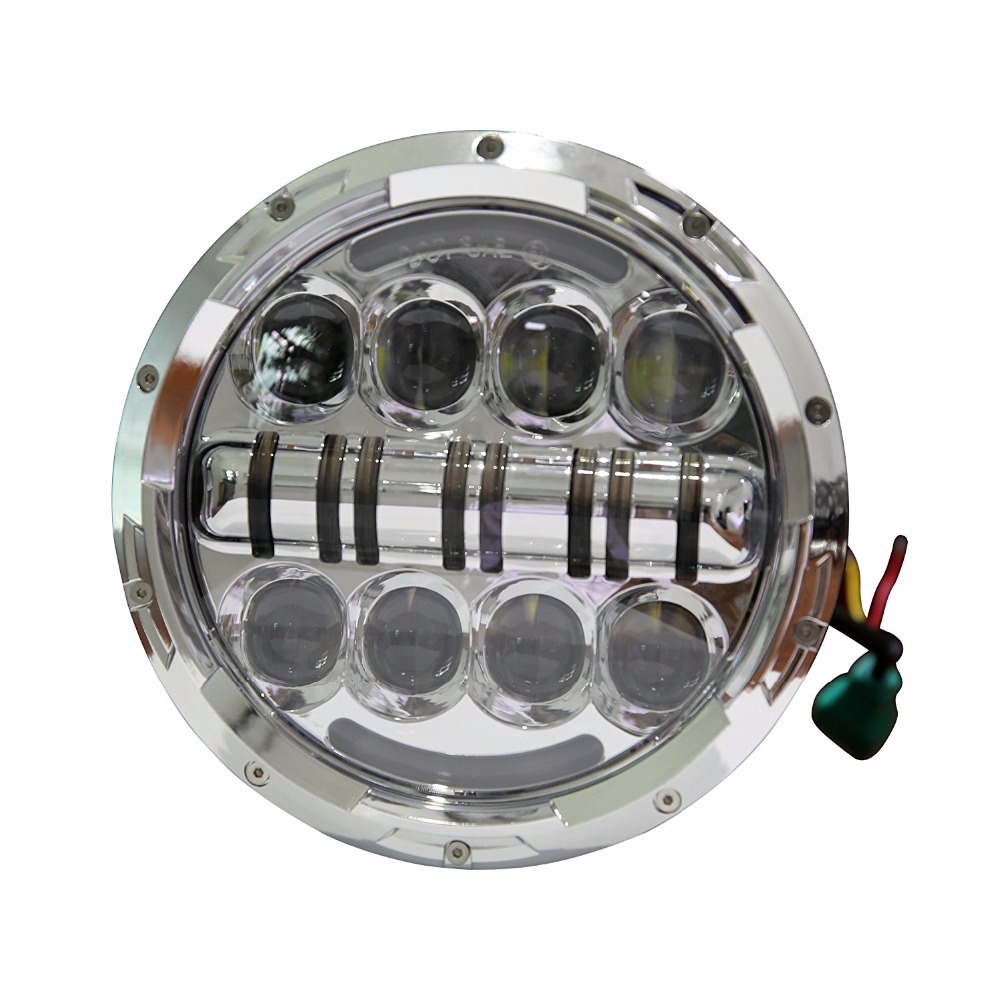 1 Piece Silver 7inch LED Motorcycle Headlight High Low Beam Car Lights with Yellow Turn Signal Eye for jeep Wrangler CJ JK TJ pair for 7 inch round headlight 12v 24v dc high low beam and angel eye led for jeep wrangler jk tj harley davidson motorcycle