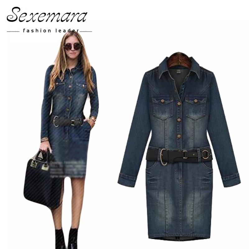 Buy Cheap belt 2017 summer dress vestidos femininos women denim jeans dark blue midi big plus size 5XL American loose female clothing