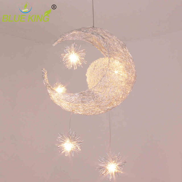 Kid's Room Lighting Modern Fashion Moon&Star Pendant Light Loft  Aluminum Pendant Lamp Fixture Decoration Child Bedroom