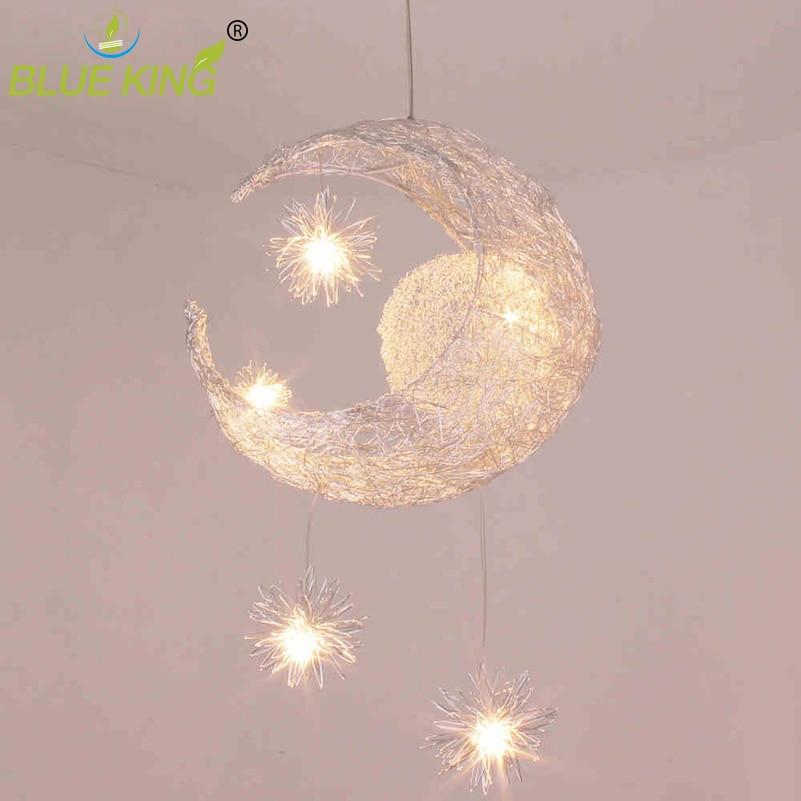 Kids Room Lighting Modern Fashion Moon&Star Pendant Light Loft Aluminum Pendant Lamp Fixture Decoration Child Bedroom