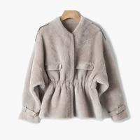Ptslan 2018 Real fur coat women winter sheep shearing fur coat natural fur collar thick warm fur jacket free shipping P4363