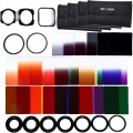 40in1 Set 24 unids Filtro Graduado Square Kit de Filtros de Color + 9 Anillos Adaptadores + 2 holder + Parasol + 4 Casos Para Cokin P Series Cámara
