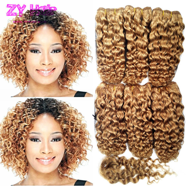 Short Blonde Weave Bundles Kinky Curly With Closure Cabelo Humano