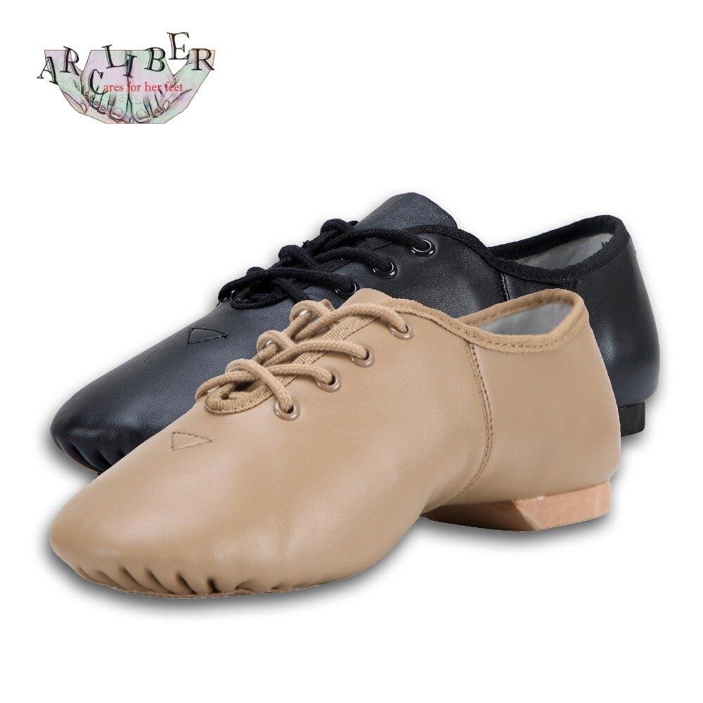 Chaussures à lacets de danse jazz moderne en cuir véritable Salsa/salle de bal/Ballet sur des chaussures de danse latine noires et bronzées
