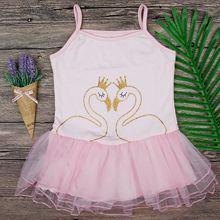 2018 Baby Girl Lace Princess Tutu Dress Wedding Swan Printing Dress Girls Clothes For Kids Party Wear Meninas Vestidos