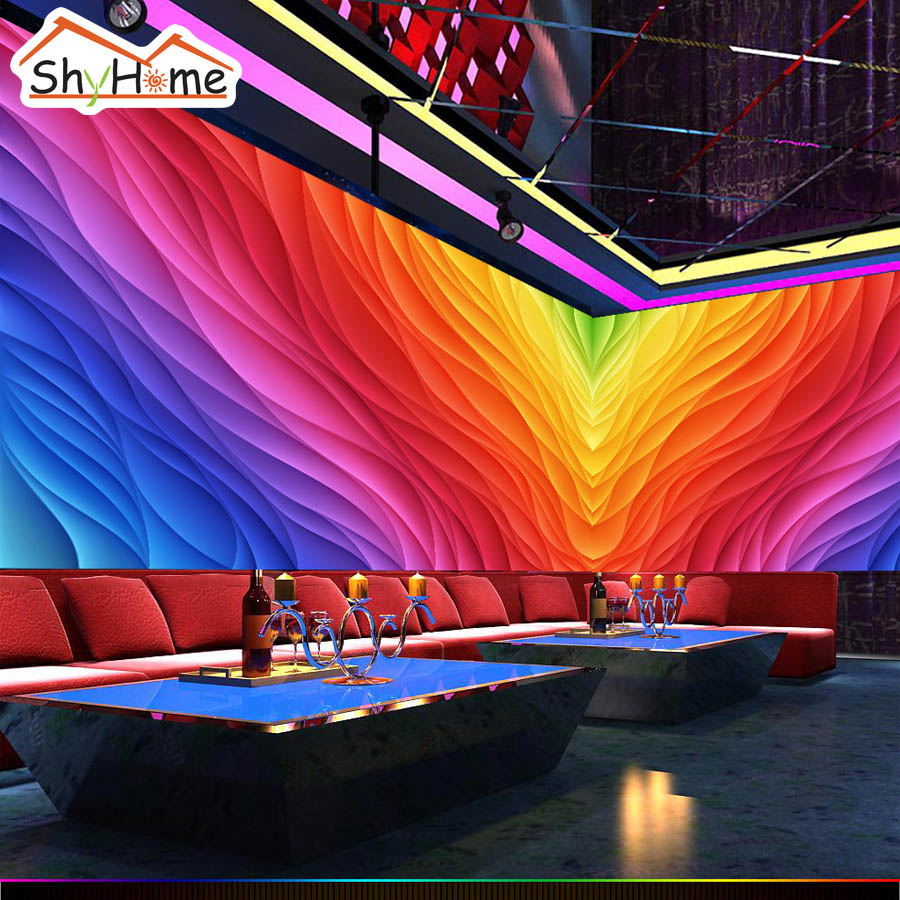 Customize 3D Color Strip Fire Abstract Wallpaper for Wall 3d Cafe KTV Background Wall Paper Living Room Non-woven Mural Rolls