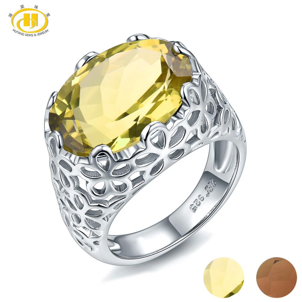 Hutang 8.60ct Lemon Quartz Wedding Ring Natural Gemstone 925 Sterling Silver Rings Fine Elegant Jewelry For Women Gift New