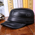 Elderly Men's Genuine Leather Leather Hat Ear Warm Autumn Winter Hat Thick Cotton Ear-Protection Cap B-0614
