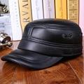 Idosos chapéu de couro de couro genuíno dos homens de ouvido quentes de outono ouvido algodão chapéu de inverno de espessura - tampa de proteção B-0614