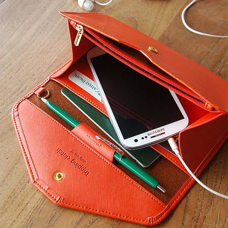 Elegant Lady Wallet Synthetic Leather Envelope Design Women Wallets Hasp Candy Color Clutch 9 Colors Female Money Purses trendy women s clutch with envelope and twist lock design