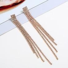HOCOLE 2018 New Gold Silver Color Full Rhinestone Long Tassel Earring For Women Luxury Jewelry Statement Drop Dangle Earrings