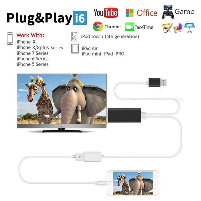 Hdmi cable USB WITH MFI  HDMI Lightn ing Cable for Airplay DLNA Miracast For Iphone X 5 5s 5c 6 6s 7 7 8 8plus ipad mini pro