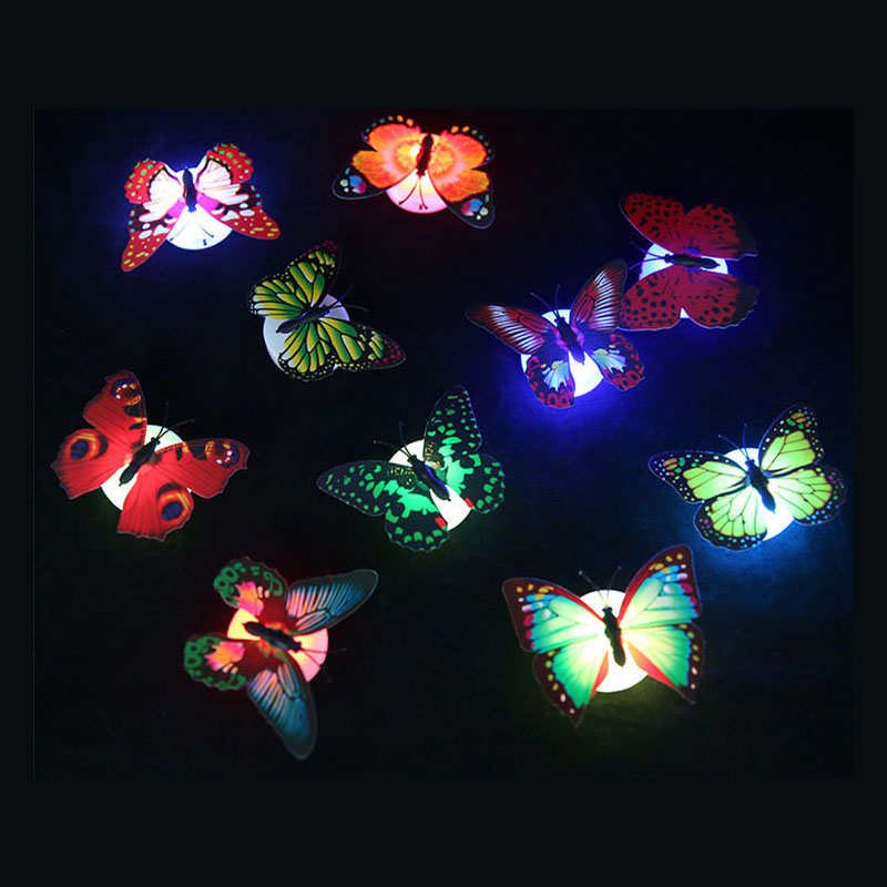10 PCS 3D Wall Stickers Lifelike Butterfly Powered LED Lights Wall Stickers 3D House Decoration Battery Included color random