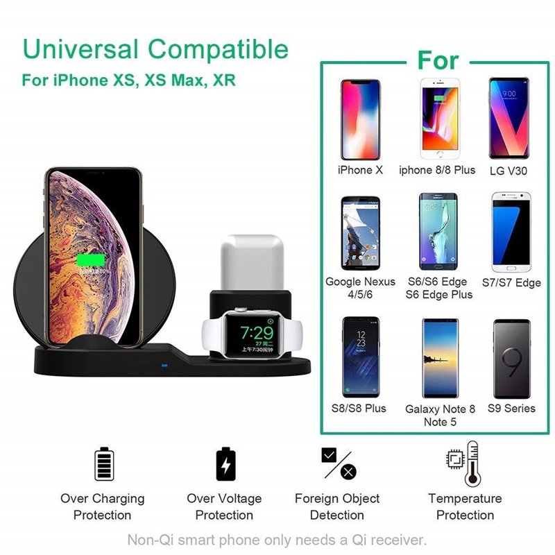 Tongdaytech 10W Qi Wireless Charger For Iphone X XS XR 8 8P 11 Pro Max Fast Quick Charger For Apple Watch Airpods Pro 5 4 3 2 1