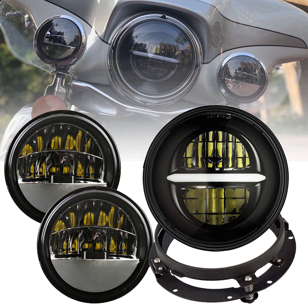 Marlaa 7 Inch LED Headlight 4.5 Fog Passing Lights DOT Kit Set Ring Motorcycle Headlamp For Touring Road King