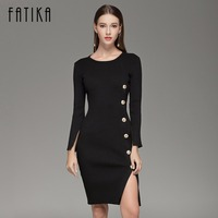 FATIKA Elegant Button Up Split Knitted Bodycon Dress Women Black Long Sleeve Sexy Party Dresses Autumn